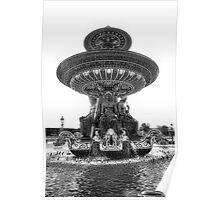Fountain at Place de la Concorde-B&W Poster