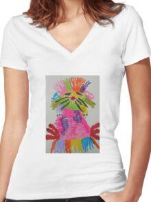 Funky hedgehog Women's Fitted V-Neck T-Shirt