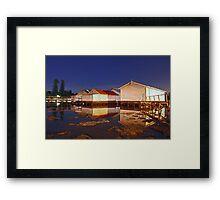 Low Tide At Mosman Bay Boatsheds  Framed Print