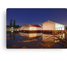 Low Tide At Mosman Bay Boatsheds  Canvas Print