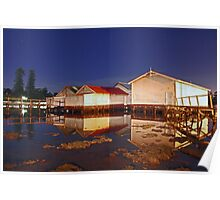 Low Tide At Mosman Bay Boatsheds  Poster