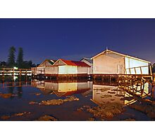 Low Tide At Mosman Bay Boatsheds  Photographic Print