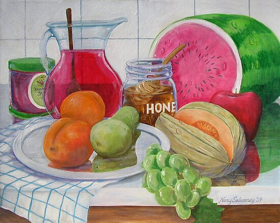 Honey and Fruit by nancy salamouny