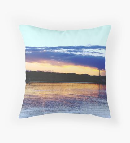 Blue Bay Boat Sunset Throw Pillow