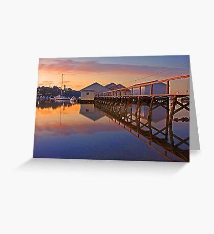 Low Tide Mosman Bay Boatshed At Dusk  Greeting Card