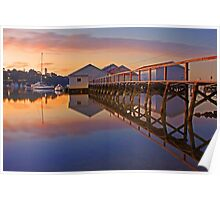 Low Tide Mosman Bay Boatshed At Dusk  Poster