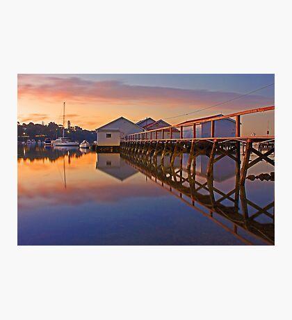 Low Tide Mosman Bay Boatshed At Dusk  Photographic Print