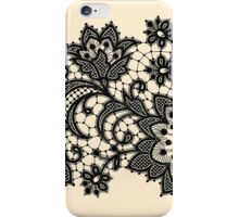 Black Lace, Seamless Pattern, Flowers. iPhone Case/Skin