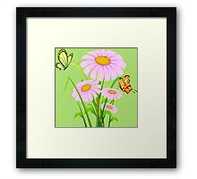 Cute daisies with butterflies Framed Print