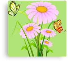 Cute daisies with butterflies Canvas Print