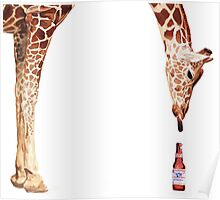 """Licker with Beer"" Giraffe Watercolor Poster"