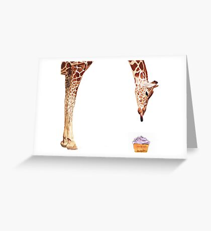 """Licker with Cupcake"" Giraffe Watercolor Greeting Card"