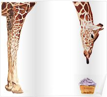 """Licker with Cupcake"" Giraffe Watercolor Poster"