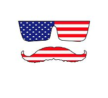Cool mustache patriot  Photographic Print