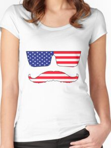 Cool mustache patriot  Women's Fitted Scoop T-Shirt