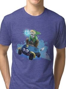 Hyrules greatest warrior...and most nervous driver.. Tri-blend T-Shirt