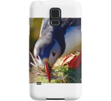 Puffin with nest material Samsung Galaxy Case/Skin
