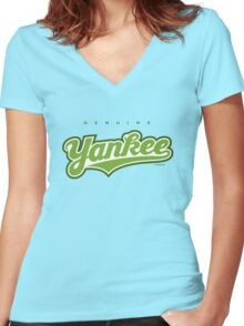 GenuineTee - Yankee(greenwhitegreen) Women's Fitted V-Neck T-Shirt