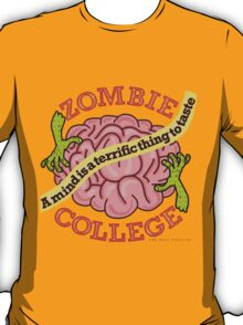Funny Zombie College Cartoon Logo T-Shirt