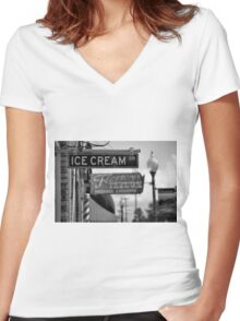Small Town Ambience Women's Fitted V-Neck T-Shirt