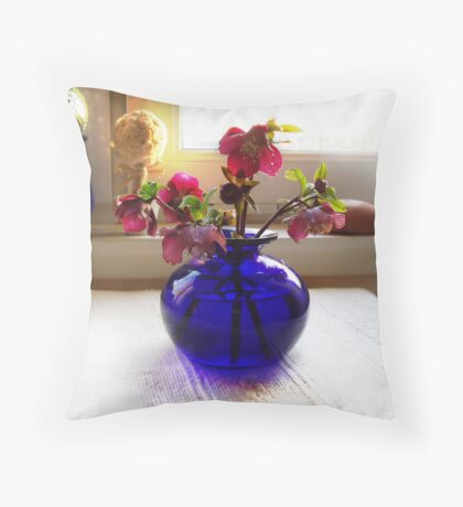 Gilded Peonies & Bristol Blues Throw Pillow