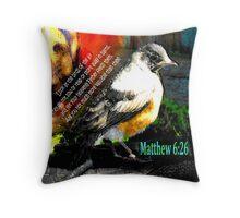Matthew 6:26 Robin Throw Pillow