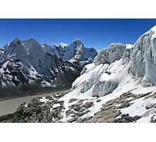 Glacial Lakes and Ama Dablam from Island Peak Photographic Print