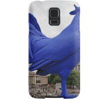 A Blue cockerel lands in Trafalgar Square Samsung Galaxy Case/Skin