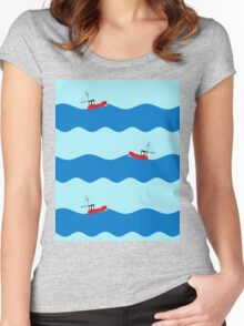Fishing boat at sea. Women's Fitted Scoop T-Shirt