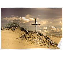 Golden dunes with a cross Poster