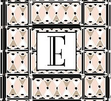 1920s Pink Champagne Gatsby Monogram letter E by CecelyBloom
