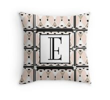 1920s Pink Champagne Gatsby Monogram letter E Throw Pillow