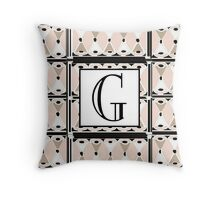 1920s Pink Champagne Gatsby Monogram letter G Throw Pillow