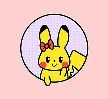 kawaii girly pikachu bow polka dots lavender by hellohappy