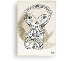 little girl with a little animal Canvas Print