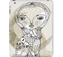 little girl with a little animal iPad Case/Skin