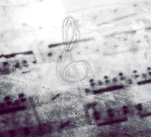 Music! Treble clef with Grunge Vintage Texture - DJ Retro Music Art Prints - iPhone and iPad Cases by Denis Marsili - DDTK