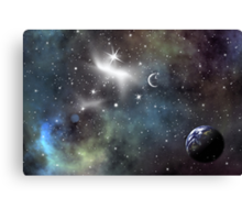 Space scenario with an Earth planet Canvas Print