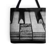 These Worn Tunes in Black and White Tote Bag