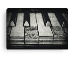 These Worn Tunes in Black and White Canvas Print
