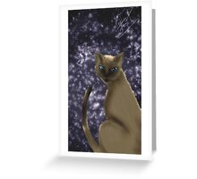 Siamese Cat in the Starry Night Greeting Card