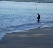 Lone Man Fishing - Laguna Beach, Phuket by Matthew Lane