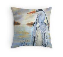Evening Heron Throw Pillow