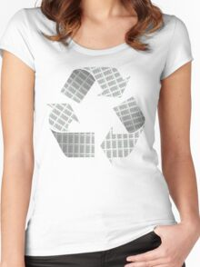Recycle Newspaper Symbol Women's Fitted Scoop T-Shirt