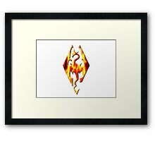 Skyrim Logo On Fire Framed Print