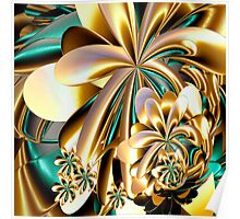 Flowers made of gold Poster
