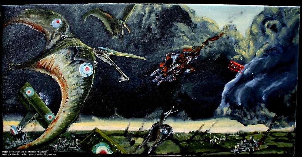 Major Billy Barker & his Pterosaur Squadron by Glendon Mellow