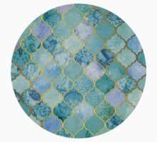Cool Jade & Icy Mint Decorative Moroccan Tile Pattern Kids Clothes