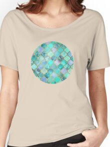 Cool Jade & Icy Mint Decorative Moroccan Tile Pattern Women's Relaxed Fit T-Shirt