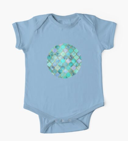 Cool Jade & Icy Mint Decorative Moroccan Tile Pattern One Piece - Short Sleeve